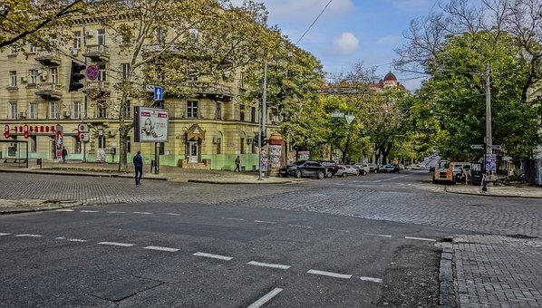 Odessa, Crossroads, Pedestrian, Street, Asphalt