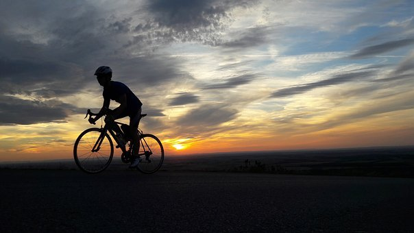 Bike, Cycling, Training, Sunset, Hill, Wheels, Ride