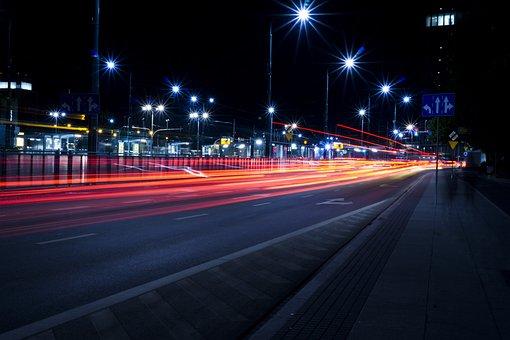 Architecture, Evening, Night, Highway, Lights