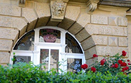 Flowers, Window, Art Nouveau, Facade, Lion Head
