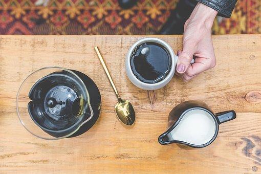 Black, Brewed, Coffee, Milk, Hot, Cold, Drink, Cup