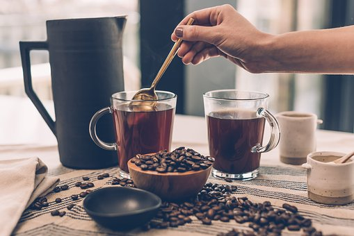 Coffee, Beans, Seeds, Glass, Brewed, Black, Hot, Drinks