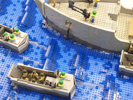 Lego, Water, Pads, Boat, Ship, Swim, Swimming, Sea