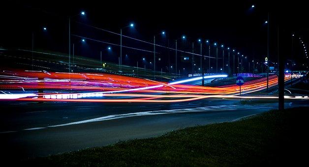 Architecture, Blur, Bridge, Evening, Night, Highway