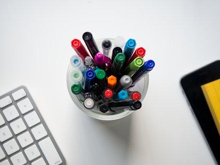 Colorful, Pen, Marker, Art, Drawing, School, Office