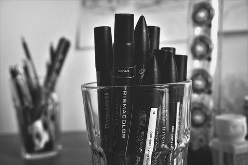 Black And White, Glass, Pens, Marker, School, Office