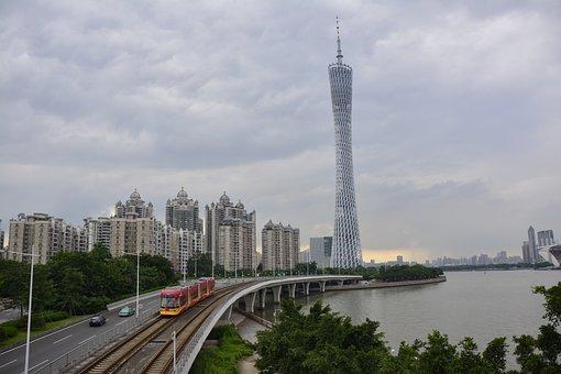 Guangzhou, Zhujiang, Pearl, River, Tower, City, Travel