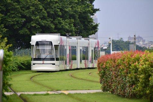 Guangzhou, Tram, White, Urban, China, City, Destination