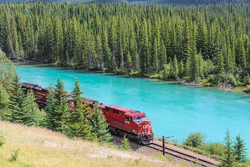 Train, Engine, Bow River, Banff, Alberta, Canada