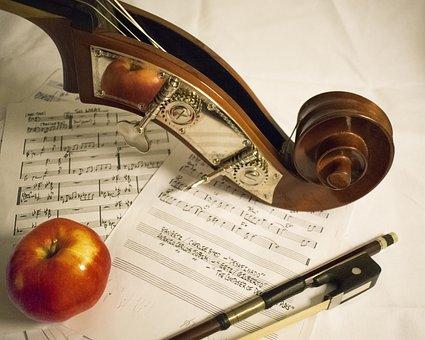 Double Bass, Music, Arc, Apple, Sheet Music