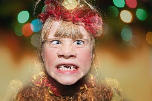 Halloween, Carnival, Child, Girl, Face, Squint, Creepy