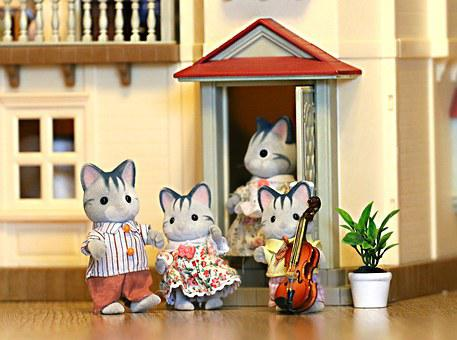 Family, Cat, Toy, House, Violin, Stroll, Kids