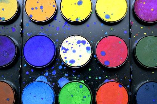 School Supplies, Paint, Watercolor, Color Palette