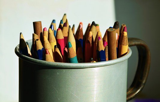 Colored Pencils, Pens, Container, Sheet, Colorful