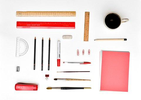 Desk, Stationery, Organized, Office, Paper, Pencil