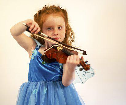 Violin, Child, Girl, Fairy, Music, Instrument, Lesson