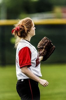 Softball, Player, Female, Red Hair, Glove, Field, Bow