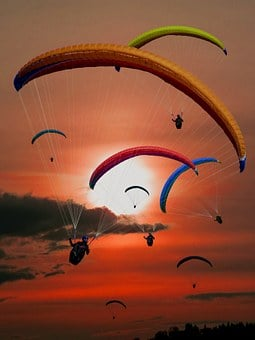 Paraglider, Paragliding, Flying, Sun, Sunset
