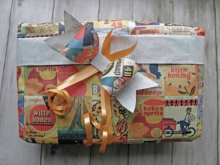 Gift, Packed, Gift Wrap, Bow, Orange Ribbons, Birthday