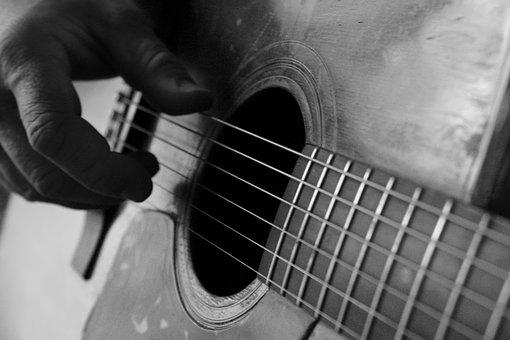 Guitar, Finger-picked, Acoustic, Hand, Black And White