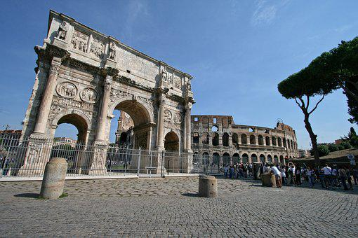 Italy, Rome, Bow And Coliseum Constantin