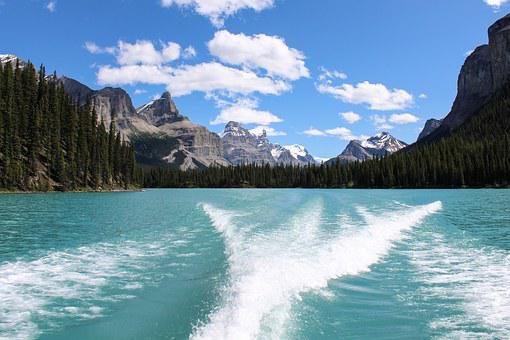 Maligne Lake, Glacier, Wake, Mountain, Canadian
