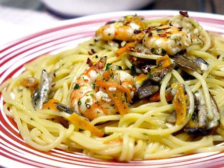 Spaghetti, Noodles, Mushroom, Pasta, Italian, Aglio