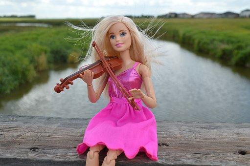 Violin, Playing, Barbie, Doll, Pink, Dress, Music