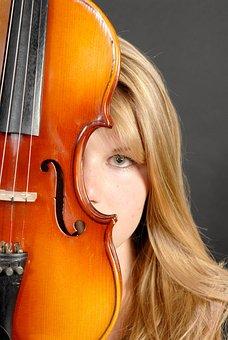 Music, Violin, Girl, Tool, Instrufacement, Portrait