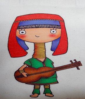 Girl, Guitar, Violin, Music, Student, Sound, Color