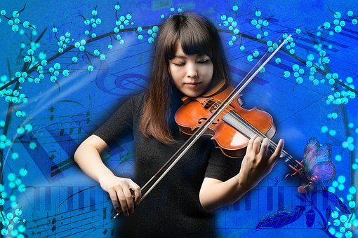 Music, Violin, Women, Retouch, Note