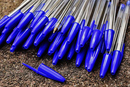 Pen, Writing Implement, Leave, Office, Blue, Color