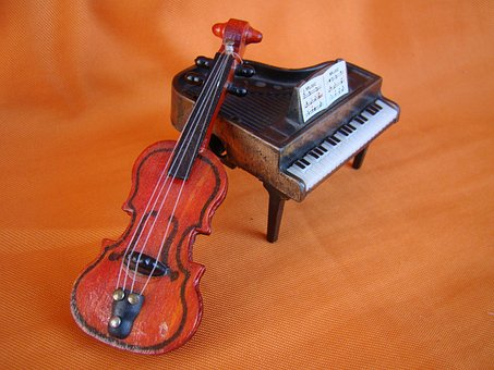 Piano, Violin, Orange, Music, Toys, Instrument