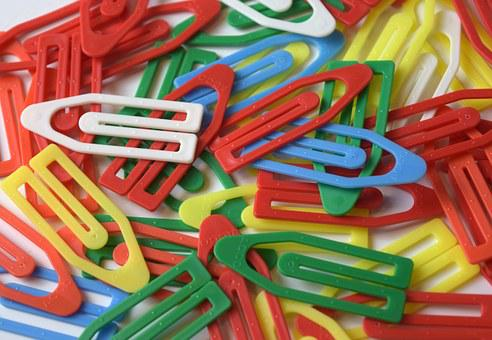 Paper Clips, Clips, Plastic, Colorful, Office