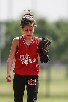 Softball, Player, Female, Glove, Uniform, Bow