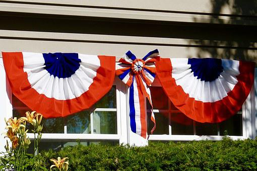 Bunting, Usa, Independence, Red, White, Blue, Holiday
