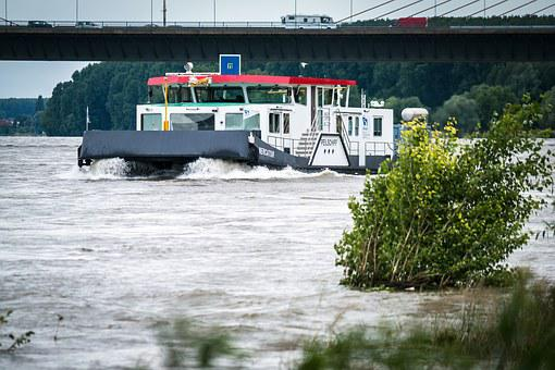 Ship, Bridge, High Water, River, Rhine, Tracking Ship