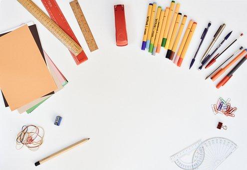 Desk, Stationery, Pens, Rulers, Sharpener, Pencils