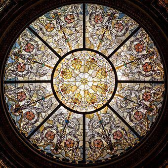 Stained Glass, Window, Glass, Ceiling, Stained