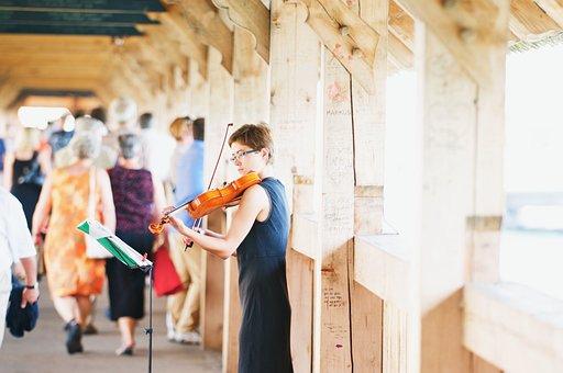 Violinist, Violin, Wooden Bridge, Chapel Bridge