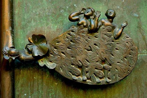 Sculpture, Church, Art, Religion, Adam And Eve