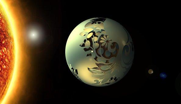 Sun, Star, Balls, Space, Christmas Bauble, Animation