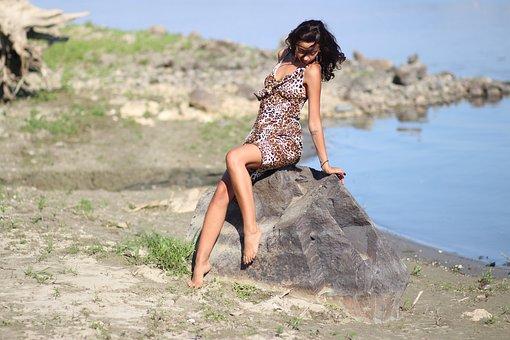Girl, Wild, Water, Rock, Dress, Leopard, Beauty, Brown