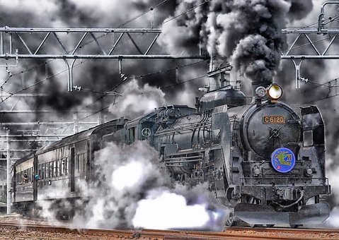 Japan, Train, Locomotive, Hdr, Smoke, Sky, Clouds