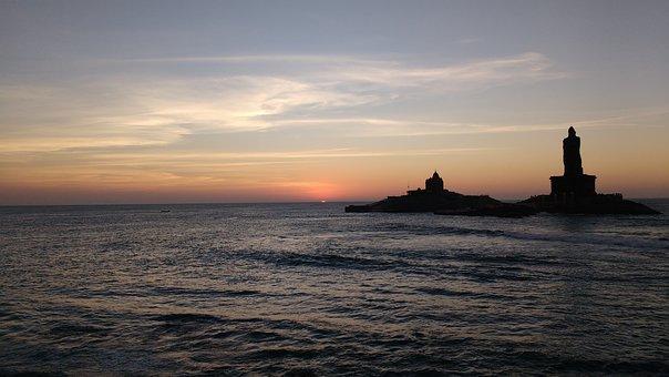 Kanyakumari, Sunrise, India, Beach, Sea, Water, Morning