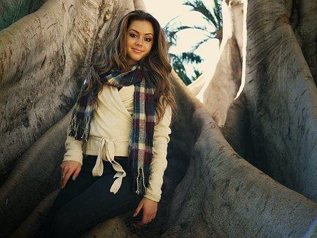 Woman, Girl, Beautiful, Long Wavy Brown Hair, Smiling