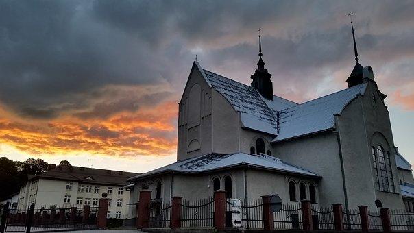 Sunset, Church, Landscape, Clouds, Municipality Good