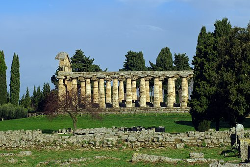Paestum, Time To Atena, Salerno, Italy, Greek Temple