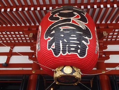 Senso-ji Temple, Paper Lantern, Face, Red, Large