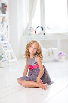 Girl, Sitting, Young, Room, White, Cute, Happy, Home